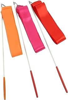 Crystallove 5pcs 39Inch GymnasticsRhythmic ColorRibbon with Stick Dance Streamers