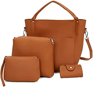 Womens Tote Bag with Wallet Fashion Design Handbag for Lady PU Leather Handbag Set Black 4pcs Composite Bag Set Brown
