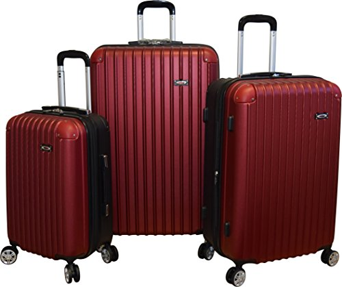Kemyer New 700 Plus Series Lightweight 3-PC Expandable Hardside Spinner Luggage Set (Red)