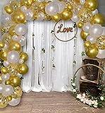Famzigo DIY Arch Balloon Garland Kit - 16.5 FT, White & Gold - Durable Boho Balloon Decoration - Beautiful Wedding, Quincenera, Birthday Arch - Easy Assembly - Photo Backdrop - Balloon Pump - Confetti