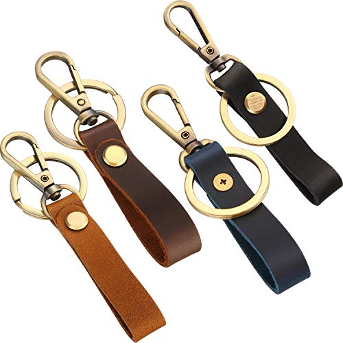 4 Pieces Leather Valet Keychain Leather Key Chain with Belt Loop Clip for Keys (Slim Belt Loop)