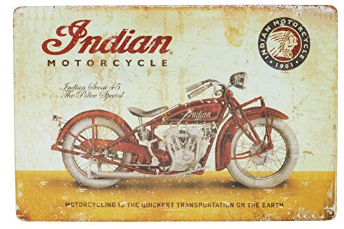 SUMIK Metal Tin Sign Red Rustic Classic Motorcycle Art Poster Vintage Plaque for Garage Home Wall Decor