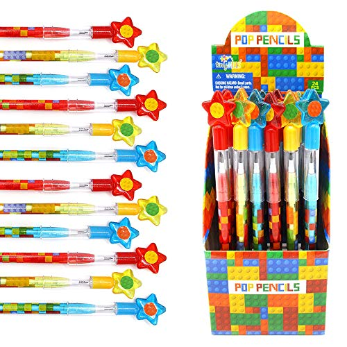 Tiny Mills 24 Pcs Building Blocks Brick Multi Point Stackable Push Pencil Assortment with Eraser for Brick Birthday Party Favor Prize Carnival Goodie Bag Stuffers Classroom Rewards Pinata Fillers