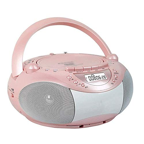 Adesign Boombox Portable Reproductor de CD con Control Remoto, Radio FM, USB Reproductor de MP3, de 3,5 mm de Entrada AUX, Auricular Gato, Pantalla LED (Color : Pink)