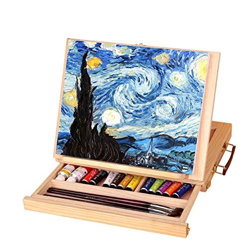 Jacksking Kunst Tisch Staffelei, verstellbare Klapp Holz Staffelei Vielseitige Künstler Staffelei Tragbare Tisch Staffelei Box mit Schublade zum Malen und Zeichnen