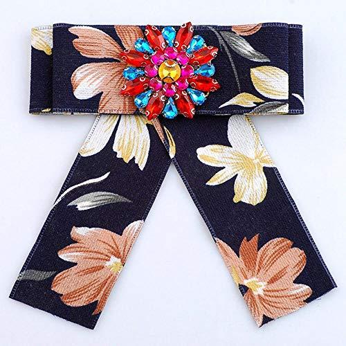 ZHAOSHUNAN Krawatten Damen Hemdkragen Fliege Handgemachte Krawatte Blumenrhinestone-Kristallschmetterlings-Band-Bogen @ F