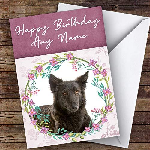 Hollandse Herdershond Roze Bloemendier Gepersonaliseerde Verjaardagskaart