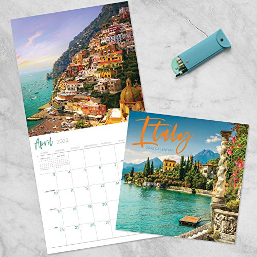 """TF PUBLISHING - 2022 Italy Wall Calendar - Home and Office Organizer - Large Monthly Grid Space for Plans and Schedules - 4 Bonus Months - 12""""x12"""""""