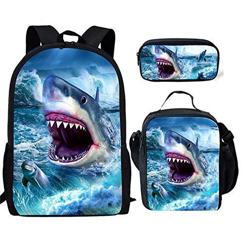 fhdc Rucksäcke 3D Shark Print Schultaschen Kinder Jungen 3 Teile/Satz Große Kapazität Rucksäcke Jungen Casual Schulter SoftbackSchultaschen Hx681Cgk
