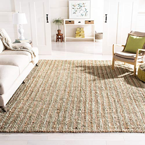 Safavieh Natural Fiber Collection NF447S Handmade Chunky Textured Premium Jute 0.75-inch Thick Area Rug, 8' x 10', Sage