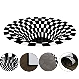 N/G Bottomless Hole Optical Illusion Area Rug Black White Plaid 3D Round Carpet Durable Anti-Skid Non-Woven Checkered 3D Visual Vortex Floor Mat for Living Dining Room Kitchen