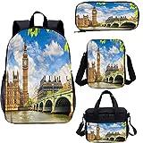 Juego de mochila para adolescentes de 15 pulgadas, historical Buildings Big Ben School Bags Set para trabajo, escuela, viajes, picnic