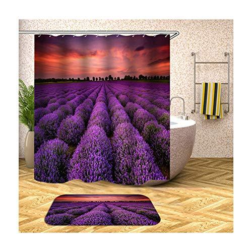 Beydodo Badematten Set Lustiger 180x200 Duschvorhang Antischimmel, Lavendel 40x60 cm Fußmatten Badezimme Waschbar