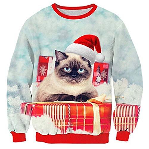 RAISEVERN Unisex Paper Galaxy Ispazju ikrah Milied Santa Kat Stampa Pullover Sweater Sweatshirt...
