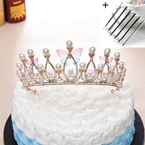 Roze Vlinder Strass Kristallen Kronen Taart Topper Kostuum Fotografie Bruiloft Bruids Prinses Hoofdband met Haarspeld