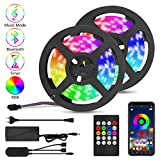 LED Strip 10M, Qomolo 300 RGB 5050 LEDs Lichtstreifen Lichterkette mit Fernbedienung & APP Gesteuert, Bluetooth LED Streifen Led Stripes Lichtband Leiste LED Bänder, Multi-Modi [Energieklasse A+]