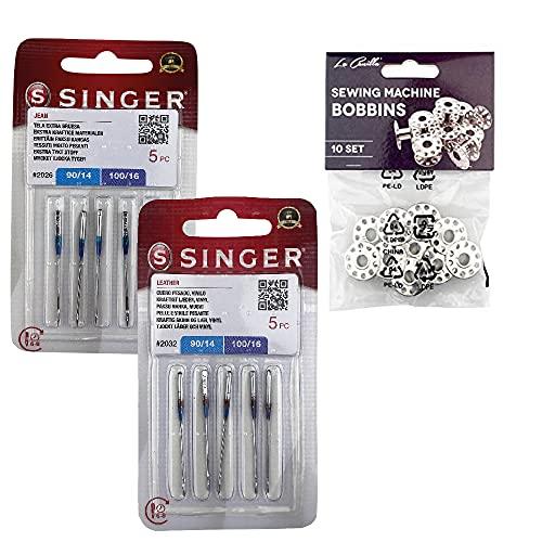 Singer 2 Packungen Universal-Nähnadeln zum Nähen von Jeans und Leder 2026 und 2032 System 130/705 H (einseitig flach) H-J und H-LL + Metallringe
