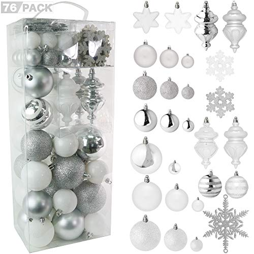 RN'D Christmas Snowflake Ball Ornaments - Christmas Hanging Snowflake and Ball Ornament Assortment Set with Hooks - 76 Ornaments and Hooks (White & Silver)