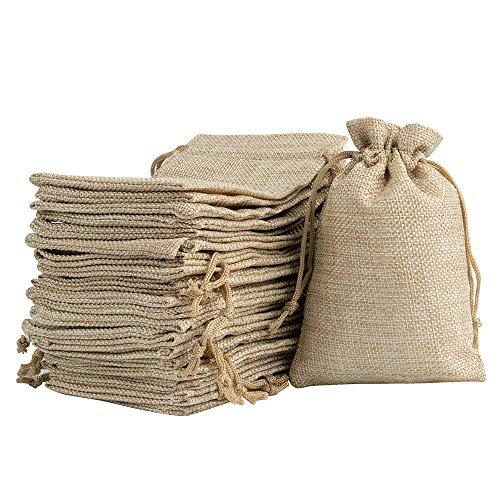 リネン ジュート 巾着袋 小物入れ 収納バッグ ラッピング プレゼント用  無地 20枚入