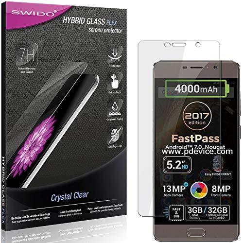 SWIDO Panzerglas Schutzfolie kompatibel mit Allview P9 Energy Lite (2017) Bildschirmschutz-Folie & Glas = biegsames HYBRIDGLAS, splitterfrei, Anti-Fingerprint KLAR - HD-Clear