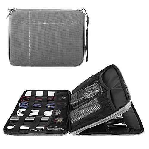 Preisvergleich Produktbild MoKo Elektronische Tasche,  2 Reißverschlüsse Elektronikzubehör wasserdichte Tragetasche für den Management-Manager Tragetasche für Kabel,  Netzteil für Kopfhörer,  SD Karten und USB Grau