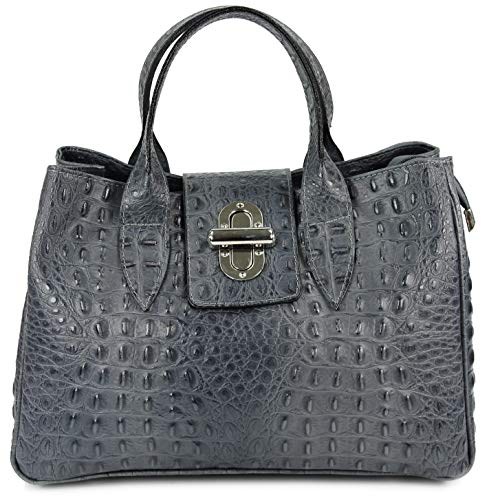 Belli Echt Leder Handtasche Damen Ledertasche Umhängetasche Henkeltasche in grau matt Kroko Prägung - 36x25x18 cm (B x H x T)