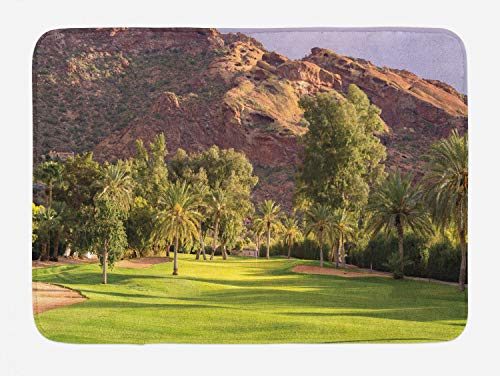 "Ambesonne Golf Bath Mat, Scenic Cliffs Desert Golf Course Phoenix Arizona Country Resort Vacation, Plush Bathroom Decor Mat with Non Slip Backing, 29.5"" X 17.5"", Green Mauve Taupe Almond"
