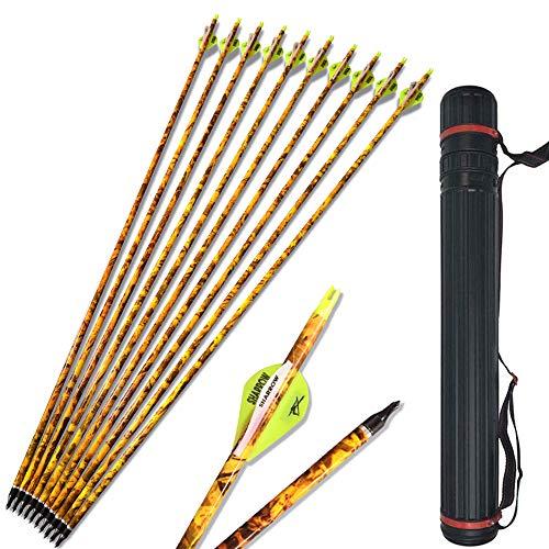 SHARROW 12pcs Flechas de Carbono 30 Pulgadas Spine 600 con Flecha Carcaj para Arco Compuesto Recurvo Flechas de Caza