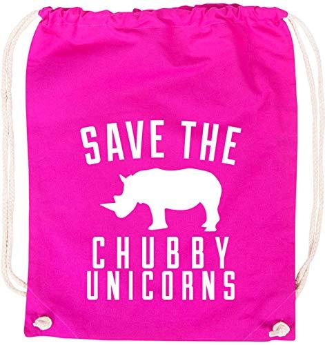 AngryShirts Save the chubby Unicorn Baumwoll Stoffbeutel