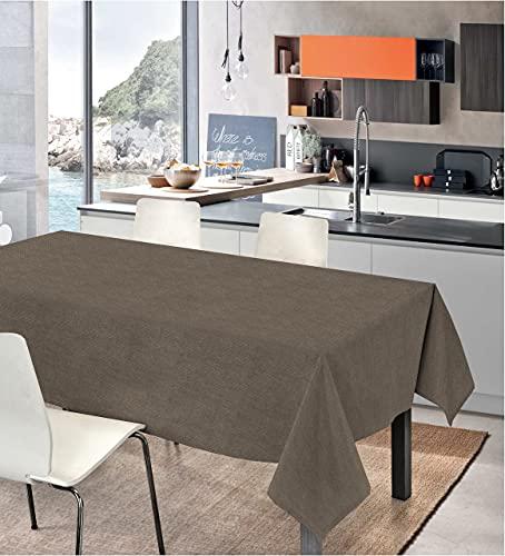 Biancheria Store Mantel de mesa rectangular liso 100 % algodón teñido en hilo   Funda para mesa robusta color liso 4-6-12 personas Made in Italy – 140 x 190 cm – Café