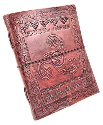 Chic & Zen - diario, agenda, blocchetto per appunti, Vera Pelle, Vintage, Triskel, 13 cm x 17 cm, carta premium