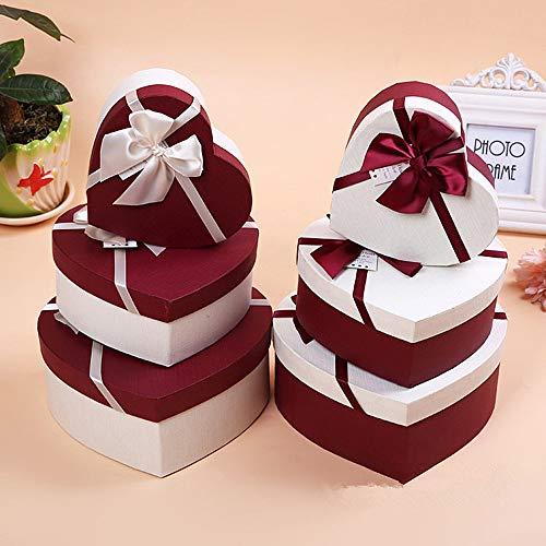 CHZIMADE Geschenkschachtel in Herzform, mit Schleife, für Schmuck, Papier, Geschenkbox, groß, mittel, klein, 3-teiliges Set