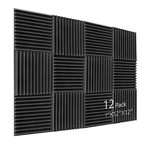 Schallabsorber Akustikschaumstoff, 12 Stück Schwarz Acoustic Foam für Podcasts, Aufnahmestudios, Büros, Home Learning, Akkustik Schaumstoffmatte(30 x 30 x 2.5 cm)
