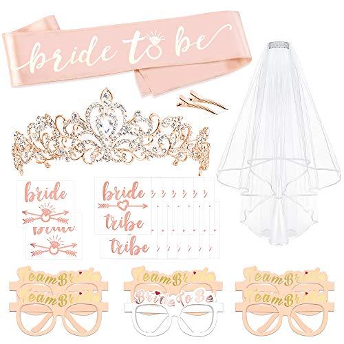 Konsait Rose Gold JGA deko Accessoires für den Junggesellinnenabschied, Hochzeit, Braut dusche, Tiara, Schärpe, weißer Schleier mit Kamm, Gläser, 16 Tattoos für Braut to be, Team Braut