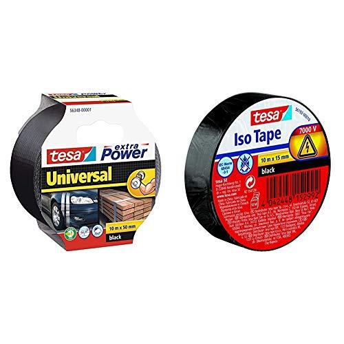 tesa Extra Power Universal Gewebeband (Wetterfestes Reparaturband, 10 m x 50 mm), schwarz, 932575 & Isolierband, schwarz, 1 Rolle