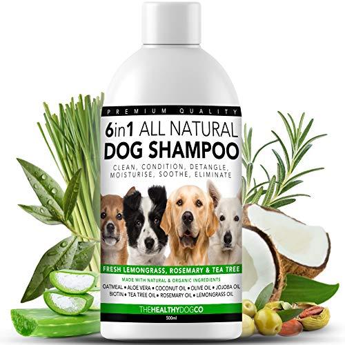 Alles Natürlich 6 in 1 HundeShampoo | Zitronengras, Rosmarin und Teebaumöl | 500ml | Reinigt, Konditioniert, Entwirrt, Befeuchtet, Verhindert Juckreiz, Eliminiert Krankheitskeime und Gerüche