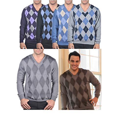 Enzo Mantovani - Argyle Italian Made Men's Fine Gauge Merino V-Neck Sweater (Small, Argyle - Violet - Grey)