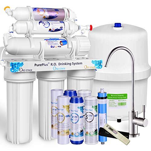 PUREPLUS 6-Stage Reverse Osmosis Water Filtration System with Alkaline, 80 GPD Under Sink RO Filter Drinking Systems,Plus NSF 58 Certified LG Original Membrane-1-year Certified Filters