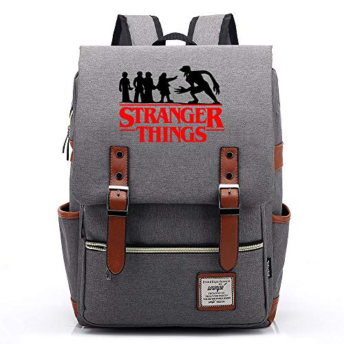 Stranger Things Backpacks,Boys and Girls Camping Out On Weekends,Food Backpacks 38CMX27CMX12.5CM Gray