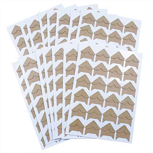 YXJD 15 Blatt Fotoecken Selbstklebende Etiketten Retro Packpapier Album 360pcs Aufkleber für Foto Schutz DIY Fotoalbum Scrapbook Braun