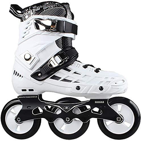 WuJiPeng Adult Outdoor Black Professionelle Inline-Skates Rollerblades ABEC-7 Carbon-Rollschuhe Bequeme Freestyle-Rollschuhe,White-41EU