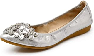 Women Wedding Flats Rhinestone Wedding Ballerina Shoes Foldable Sparkly Bridal Slip on Flat Shoes