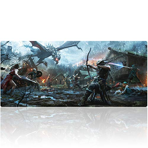 Bimor Extended Gaming Mouse Mat / Pad - Large, Wide (Long) Custom Professional Mousepad, Stitched Edges, Ideal for Desk Cover, Computer Keyboard, PC and Laptop (90x40 yuangu)