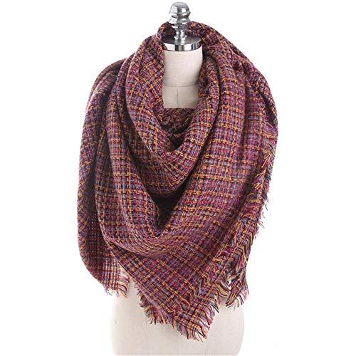 Dhmm123 Bufandas cálidas Señora del Invierno 140cm Bufanda Caliente for Las Mujeres a Cuadros Cuello Grande de la Bufanda del mantón del Abrigo (Color : Wine Red)