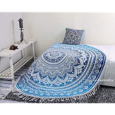 Popular Handicrafts Kp758 Tapestry Round ombre Mandala Roundie Beach Throw Indian Hippie Tapestry Wall Hanging Décor urban tapestry round table cloth 70  with cotton tassel (Blue)