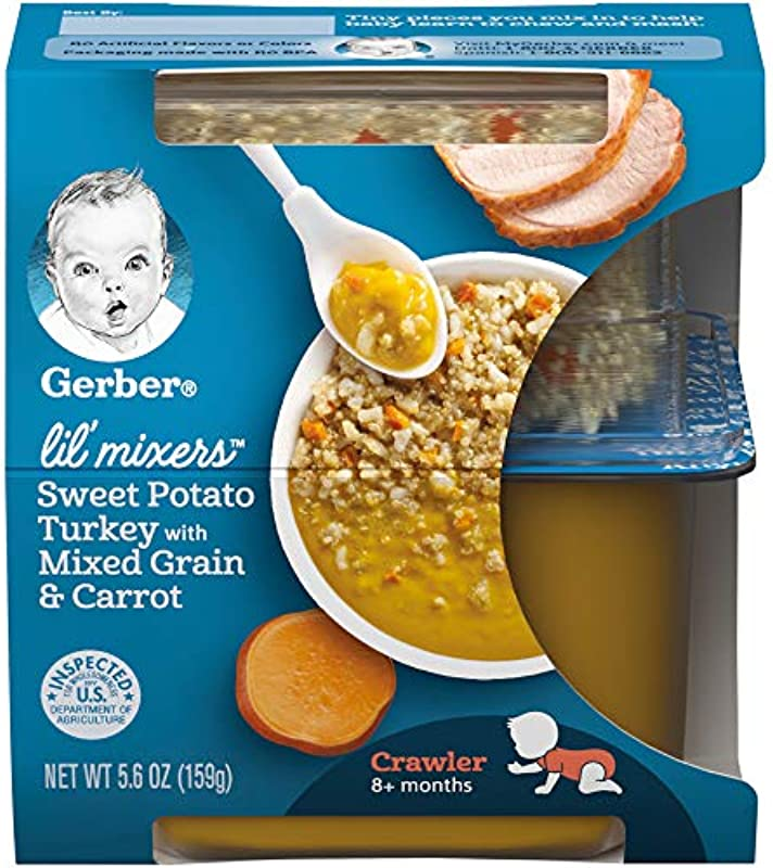 Gerber Purees Crawler Lil Mixers Rice And Quinoa With Sweet Potato Turkey Mixed Grain 6 Count