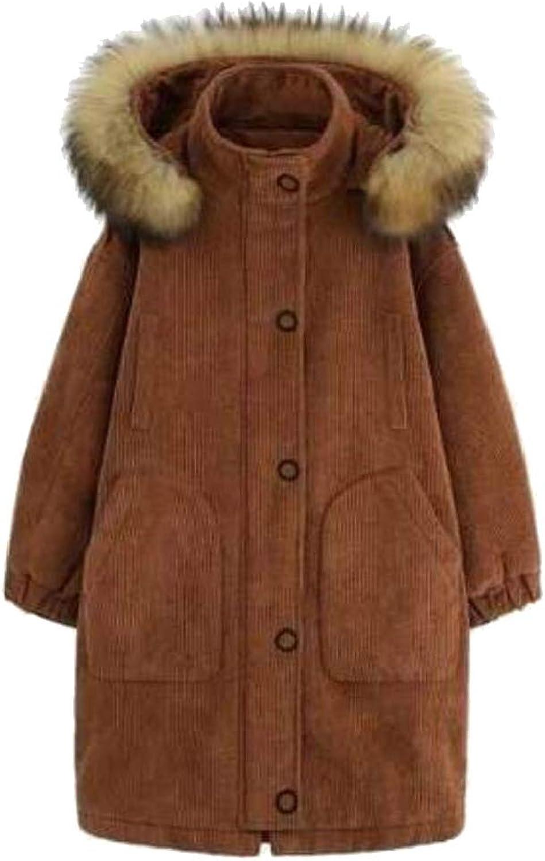 Desolateness Women's Hooded Warm Winter Faux Fur Parkas Mid Long Coats