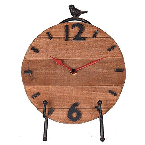 NIKKY HOME Horloge de table avec chevalet à quartz analogique, design vintage et étagère pour salon Décoration de salle de bain en bois Couleurs naturelles et oiseau
