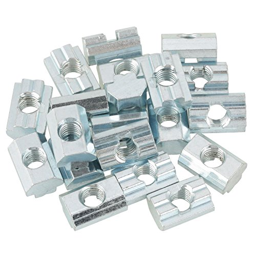 Canyita Tuerca de Cabeza de Martillo, 20 Piezas Tuerca de Ranura en T Deslizante de Acero al Carbono galvanizado para Accesorios de Aluminio(M8)