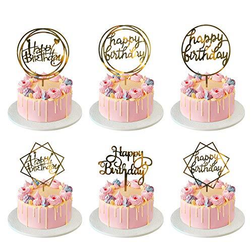 Ulikey Happy Birthday Cake Topper, 12 Piezas Oro Topper de Pastel de Cumpleaños, Acrílico Cupcake Topper de Magdalena Decoración de Tartas para Cumpleaños